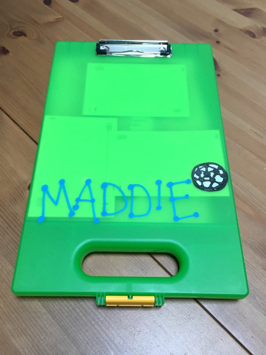 How to make sure your kids write home from camp - clipboard with storage - thediybungalow.com