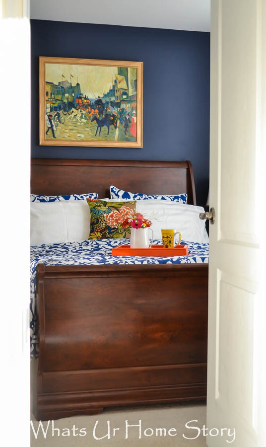 Navy-and-coral-bedroom - What's Ur Home Story - thediybungalow.com