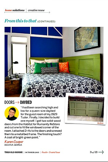 Daybed from Old Doors featured in This Old House Magazine - TheDIYBungalow.com