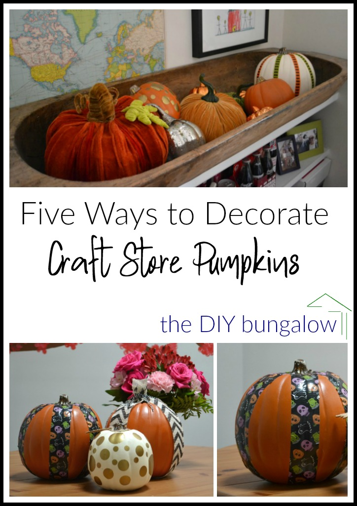 Five ways to decorate craft store pumpkins for Halloween - thediybungalow.com