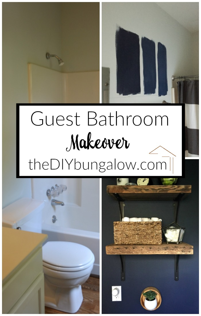 This guest bathroom went from beige and blah to navy and wow! Check out the guest bathroom makeover reveal here - thediybungalow.com