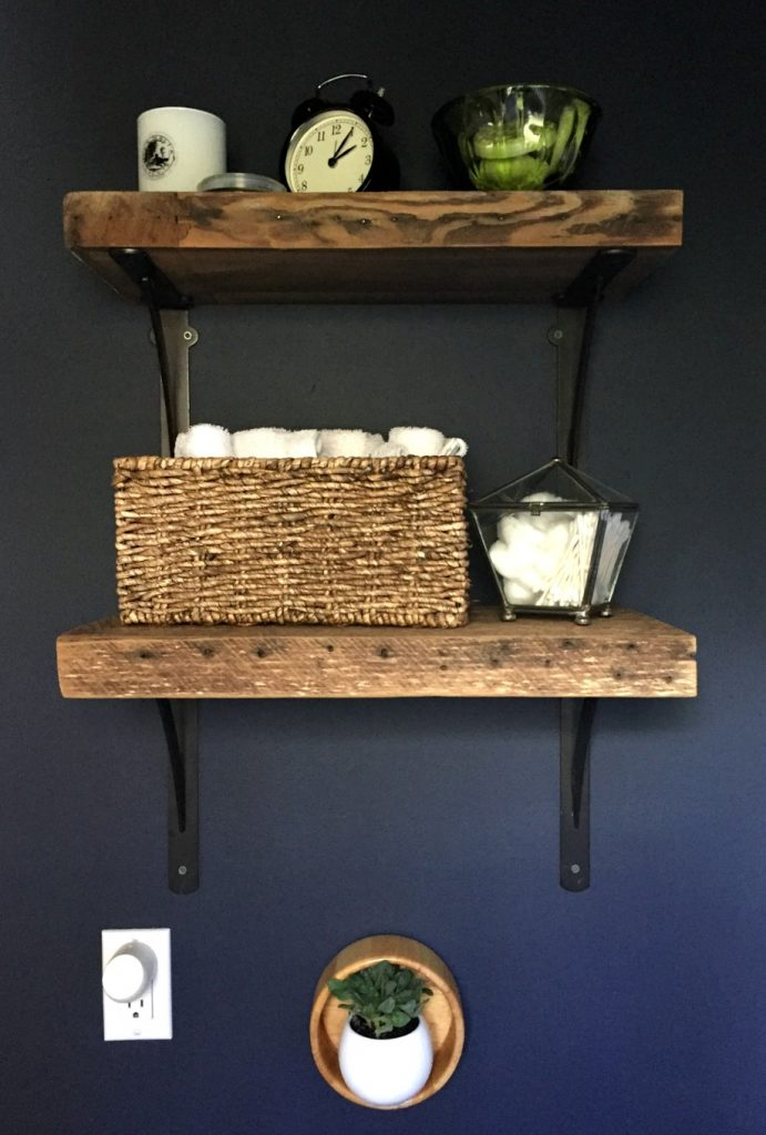 Finished reclaimed wood shelves - Guest bathroom makeover reveal