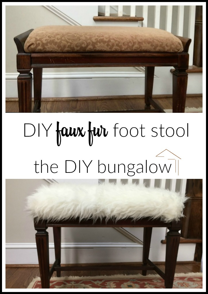Before and After - DIY faux fur foot stool - thediybungalow.com