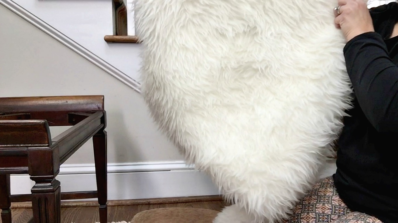IKEA TEJN for cushion for DIY faux fur foot stool - thediybungalow.com