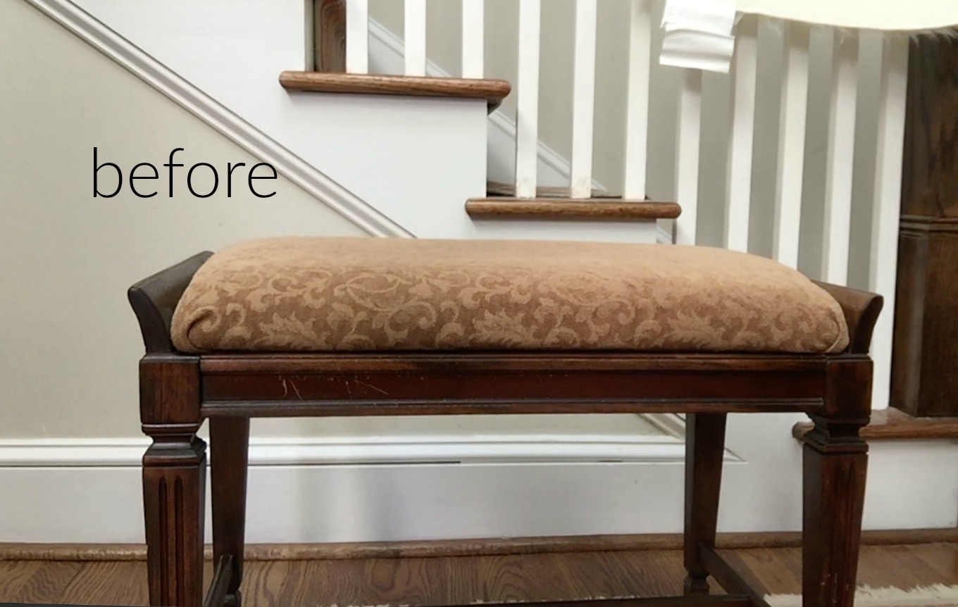 Before piano bench turned DIY faux fur foot stool - thediybungalow.com