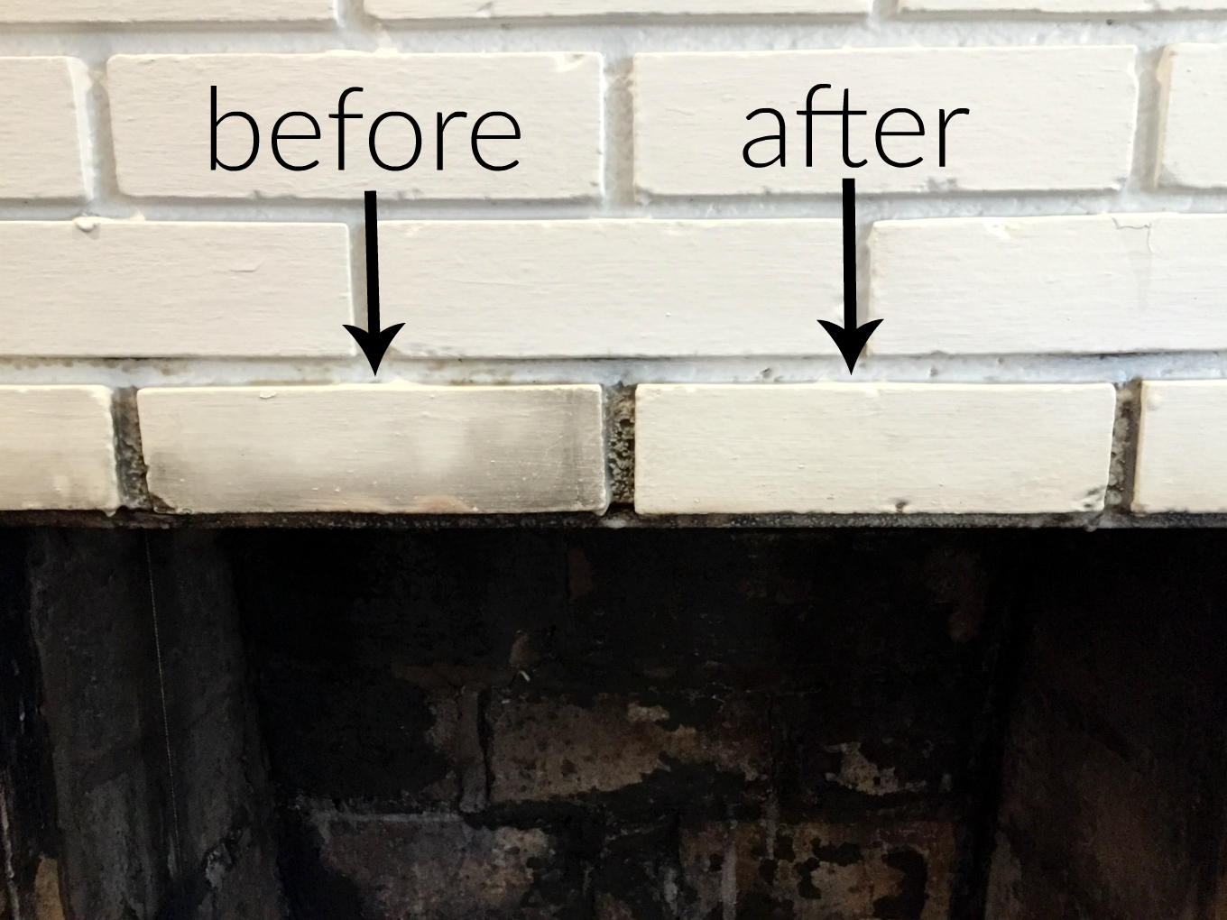 Before and after using the cleaner for how to clean a fireplace firebox - thediybungalow.com