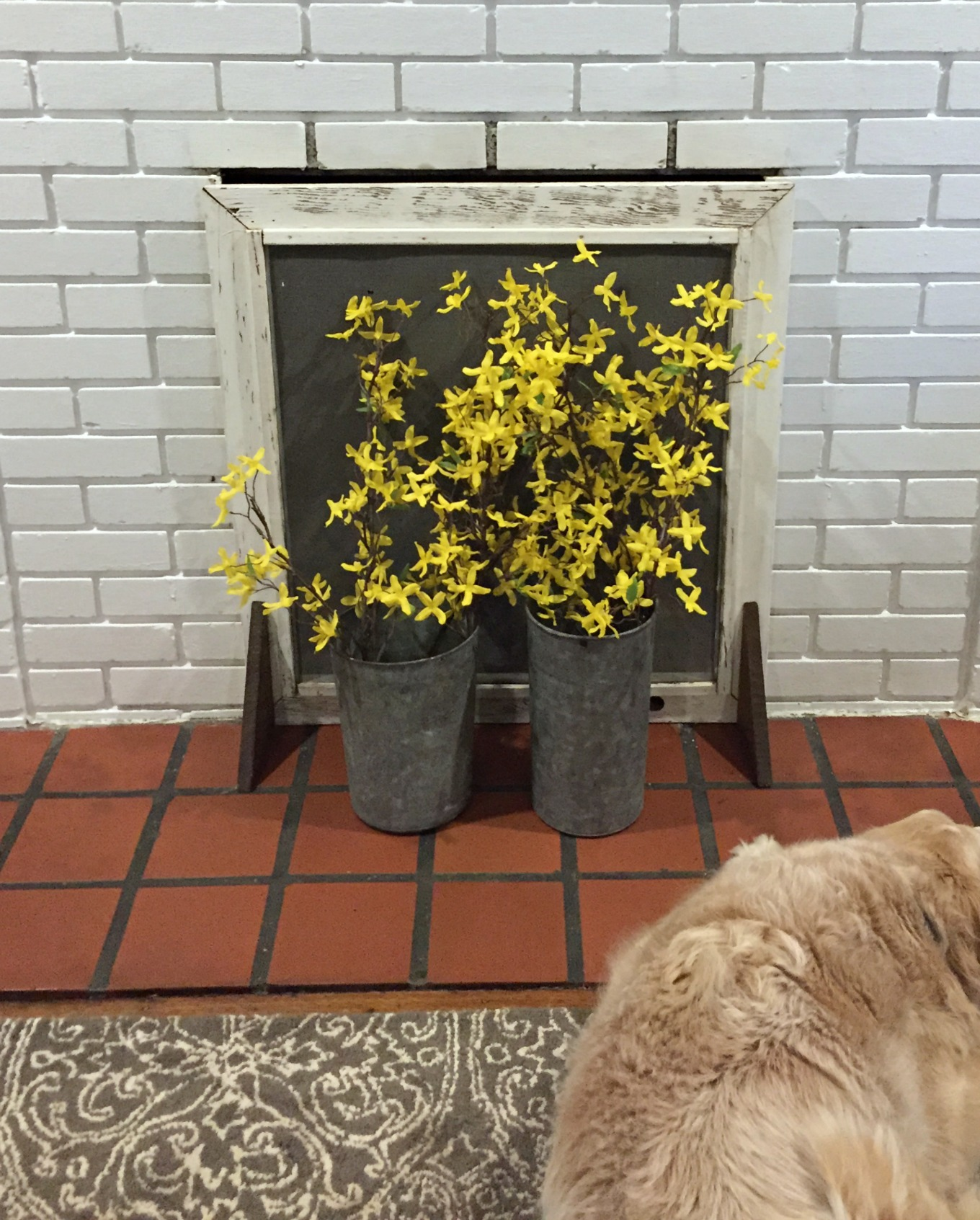 DIY fireplace screen from a repurposed window screen - thediybungalow.com