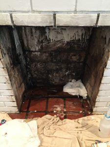 How to clean a fireplace firebox in five steps, even with nearly 100 years of soot inside! thediybungalow.com