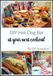 Have a DIY hot dog bar at your next cookout - find this and more fun fooDIY at thediybungalow.com