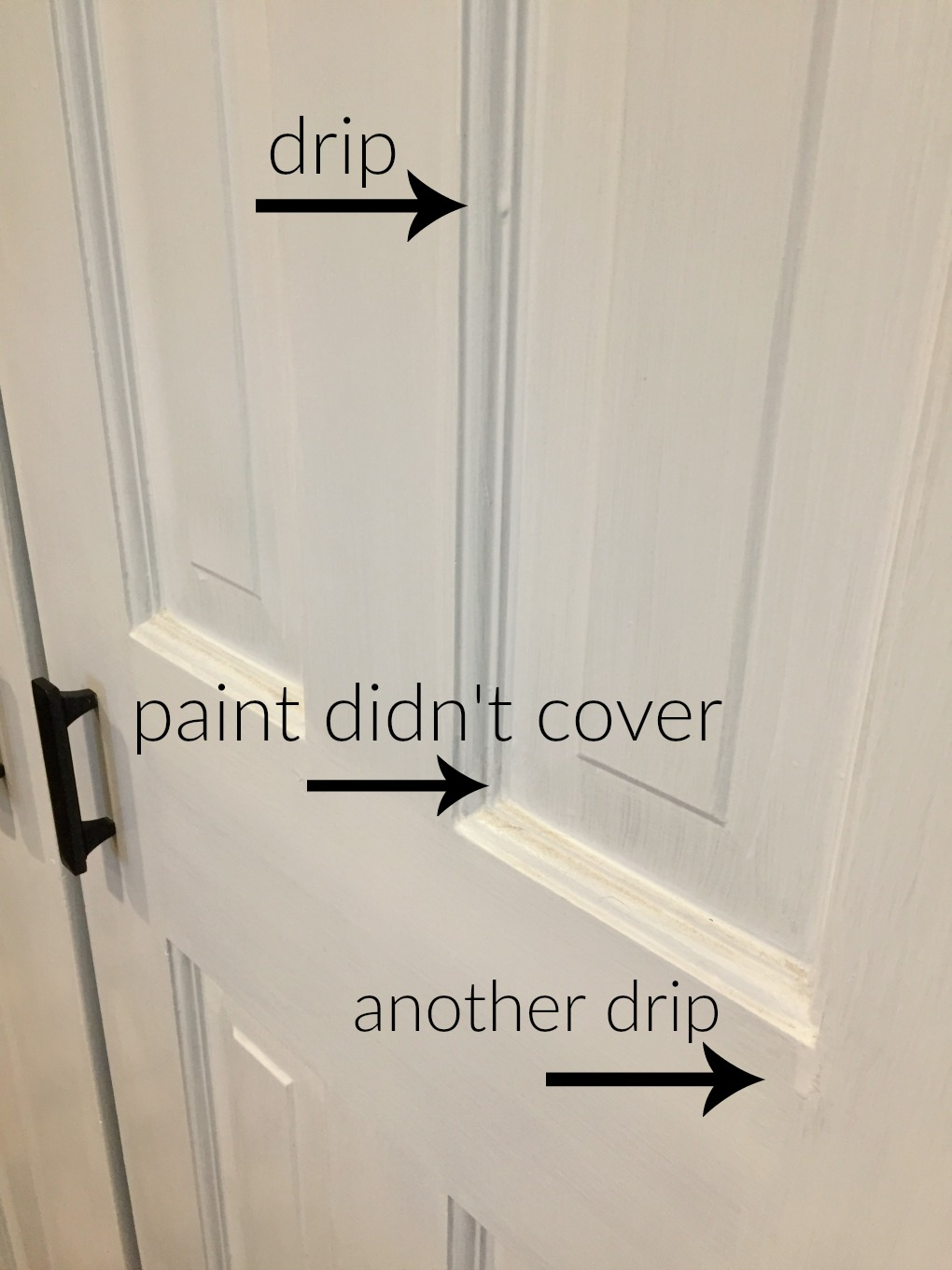 Six panel door before painting where you can see drips and coverage issues - thediybungalow.com