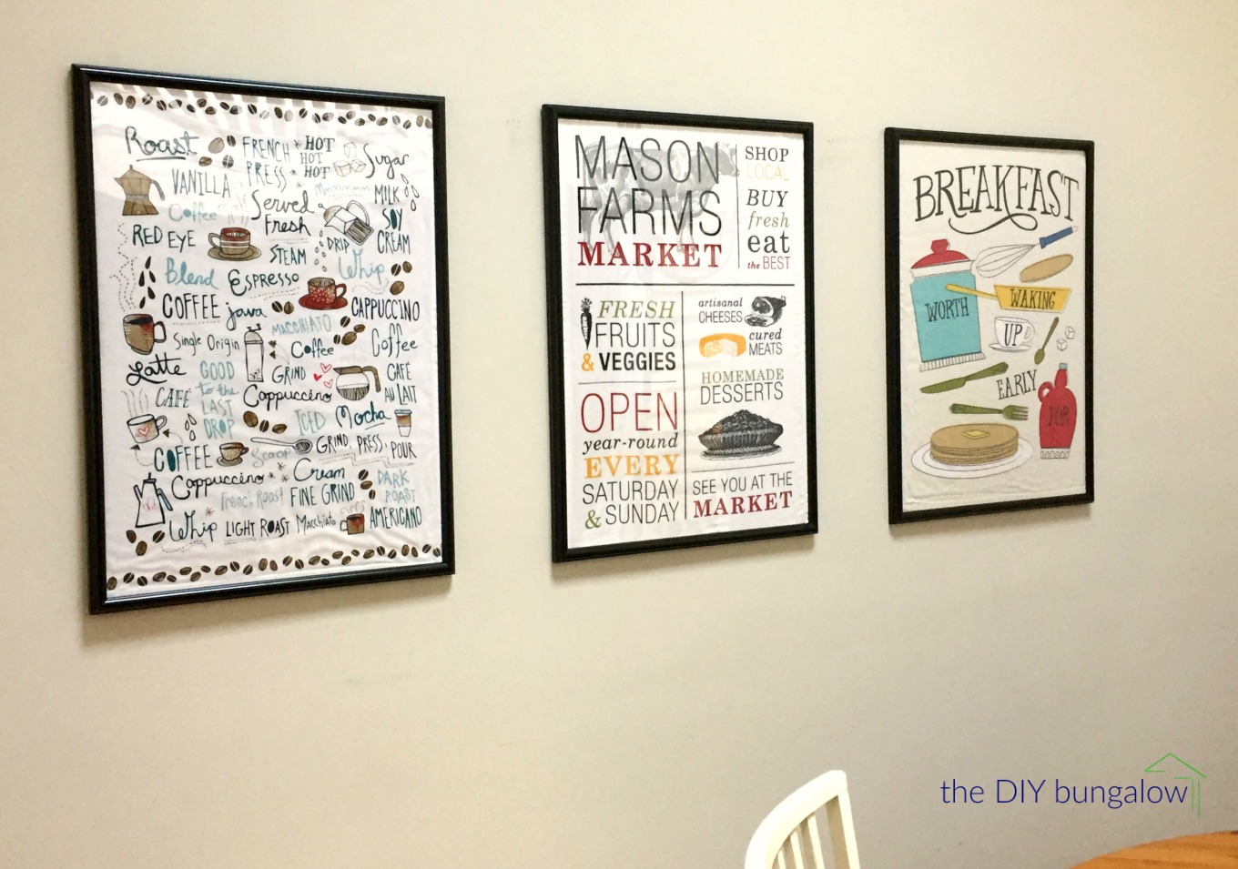 Tea towels framed as art - thediybungalow.com