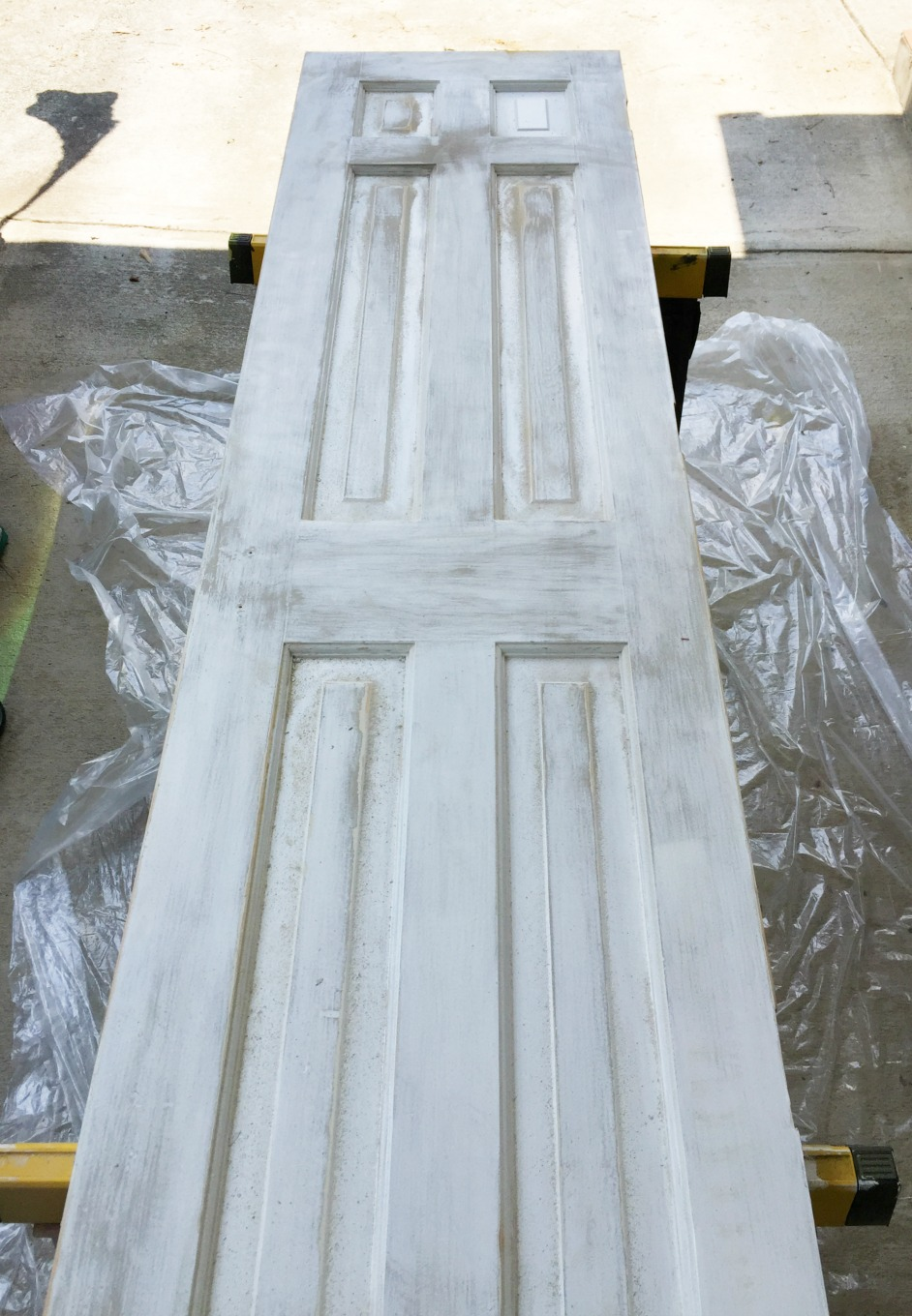 Door sanded to remove paint - thediybungalow.com