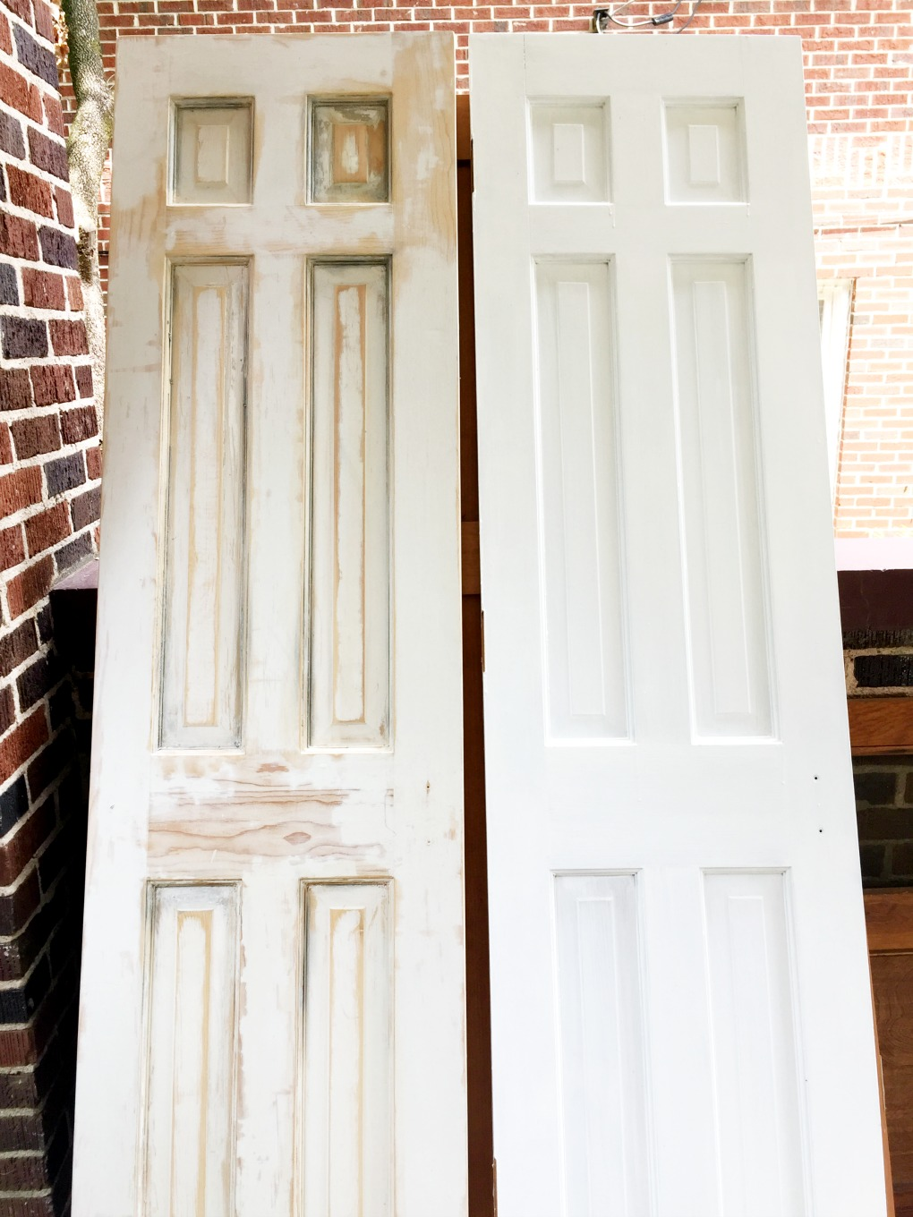 Stripped door on left compared to still-painted door on right - thediybungalow.com