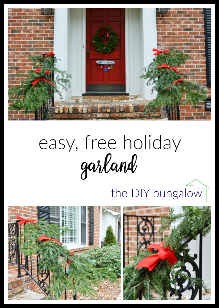 Easy free holiday garland perfect for holiday decorating - thediybungalow.com